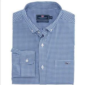 Vineyard Vines Blue Gingham Classic Tucker Shirt